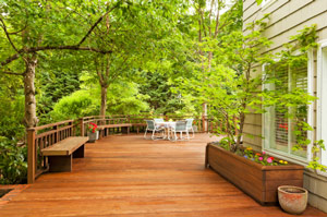 Wood backyard deck